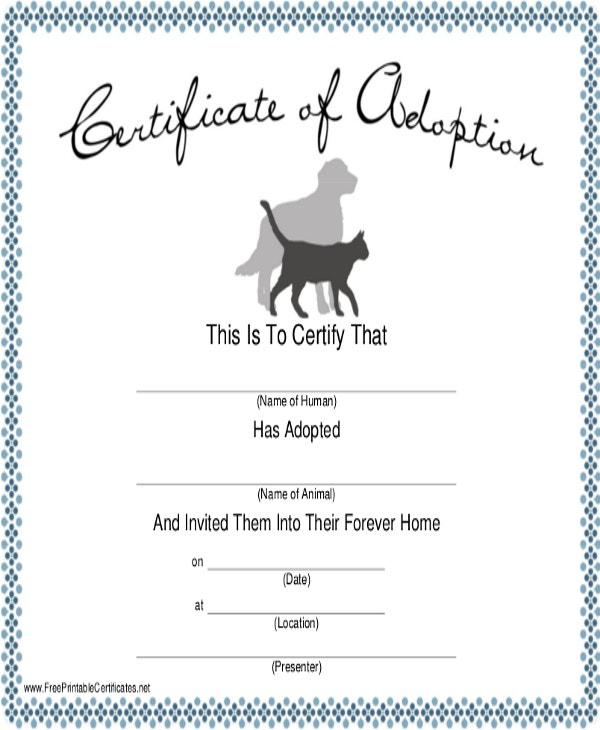 Dog certificate template 9 free pdf documents download free dog adoption certificate template yadclub Image collections