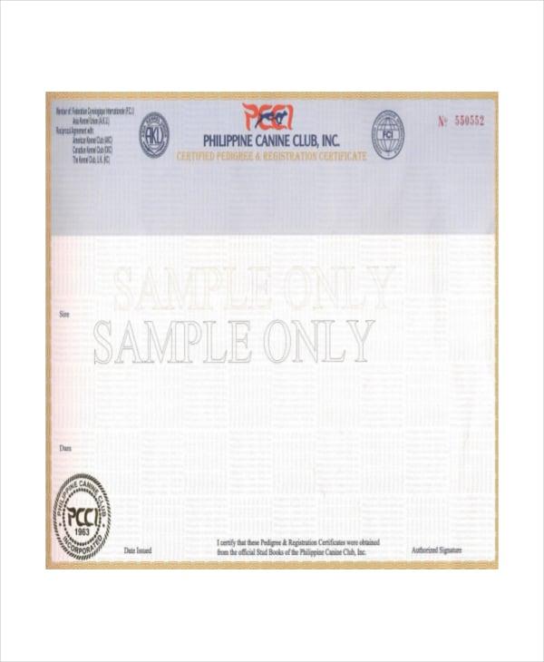 registration certificate of dog