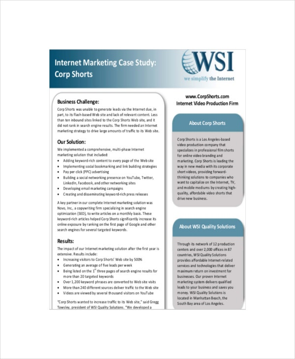 internet marketing case study sample template
