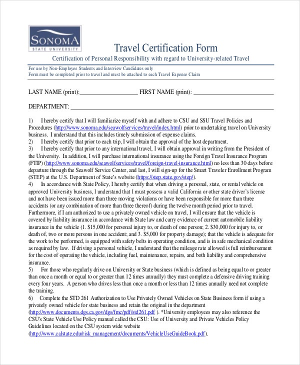 Travel Certificate Template - 7+ Free Pdf Documents Download