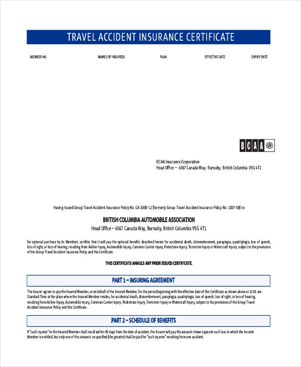 Travel Accident Insurance Certificate Template
