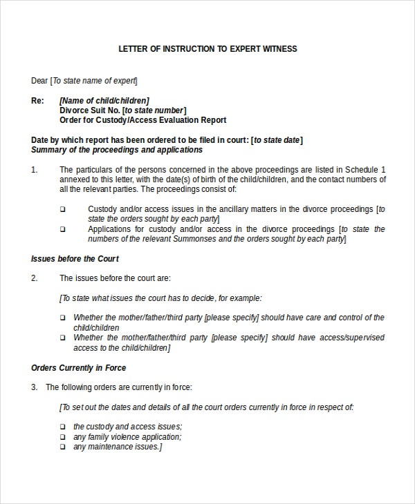 Letter of Instruction Template to Expert Witness