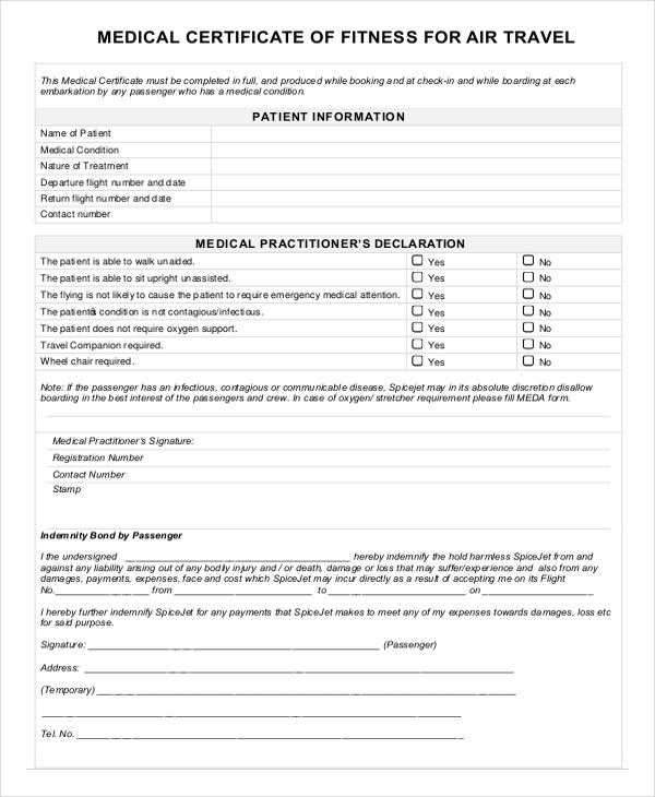 professional fitness certificate template for travelling