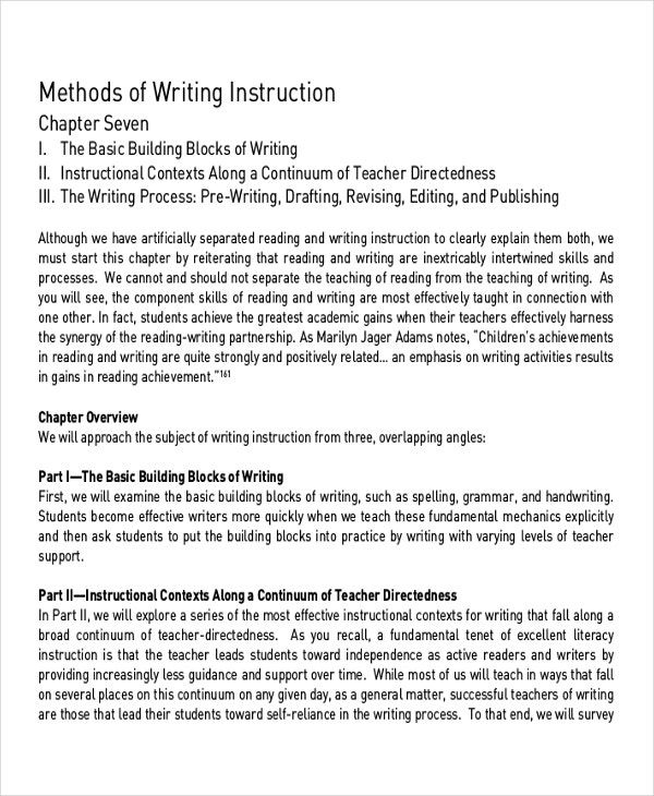 Methods of Writing Instruction
