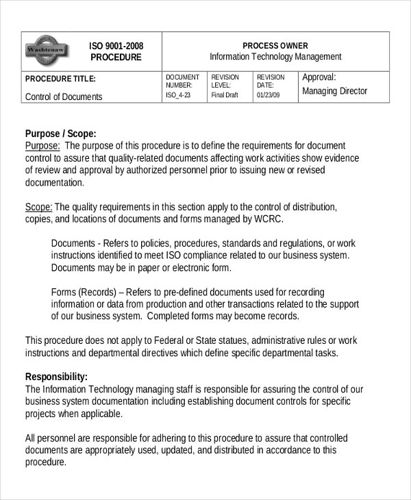 9 work instruction templates free sample example for Information technology procedure template