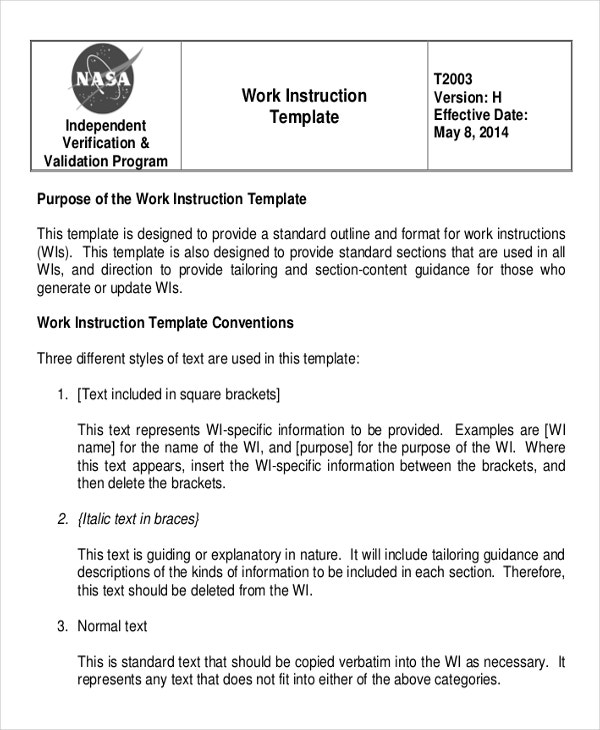 NASA Work Instruction Template
