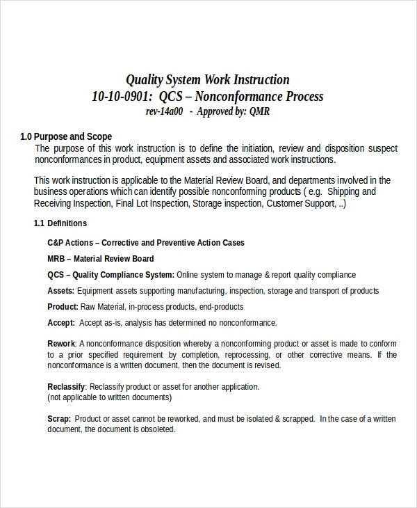 Quality System Work Instruction Template