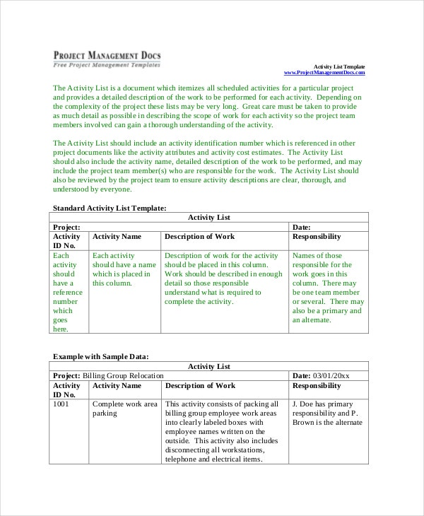 Project Activity List Template