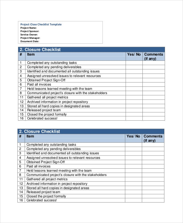 Project List Templates Free Sample Example Format Free