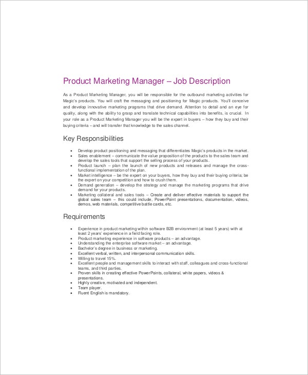 Example Product Marketing Manager Job Description Template