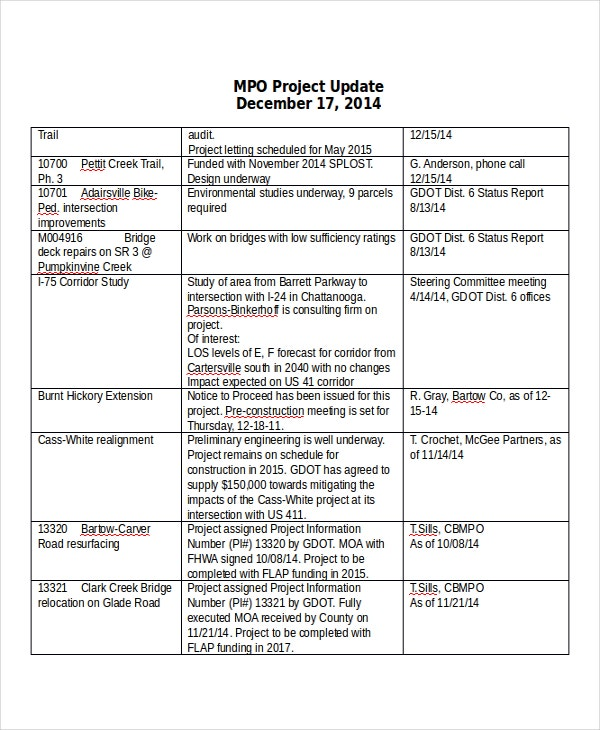 project update template 7 free word pdf documents downloads