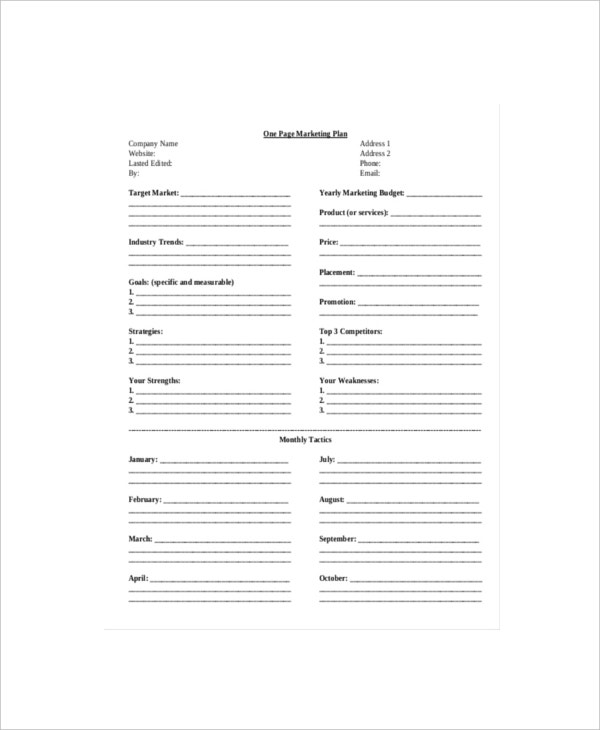 sample one page marketing plan template