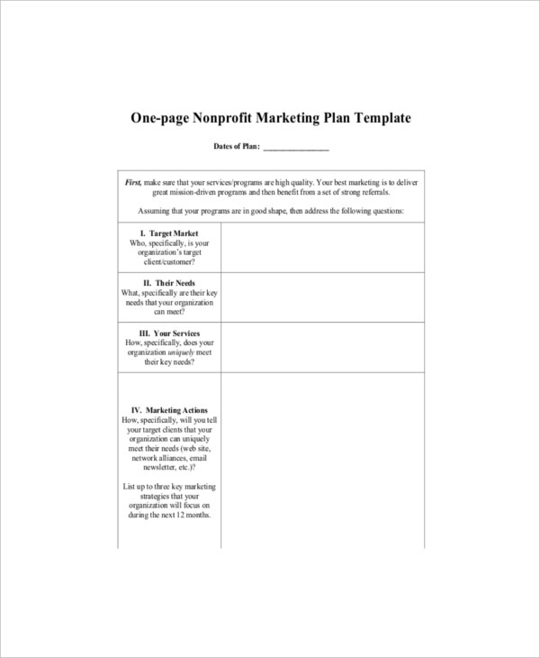 Example One Page Nonprofit Marketing Plan Template
