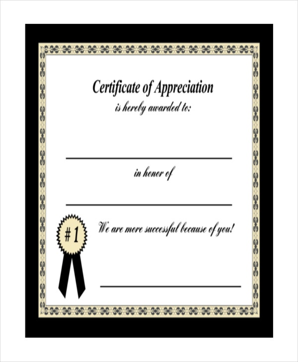 19 certificate of appreciation templates free sample for Certificate of appreciation template