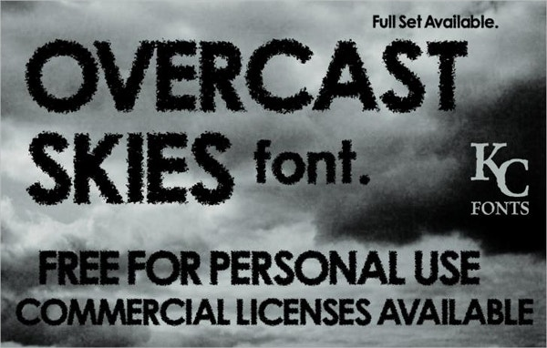 overcast skies cloud font1