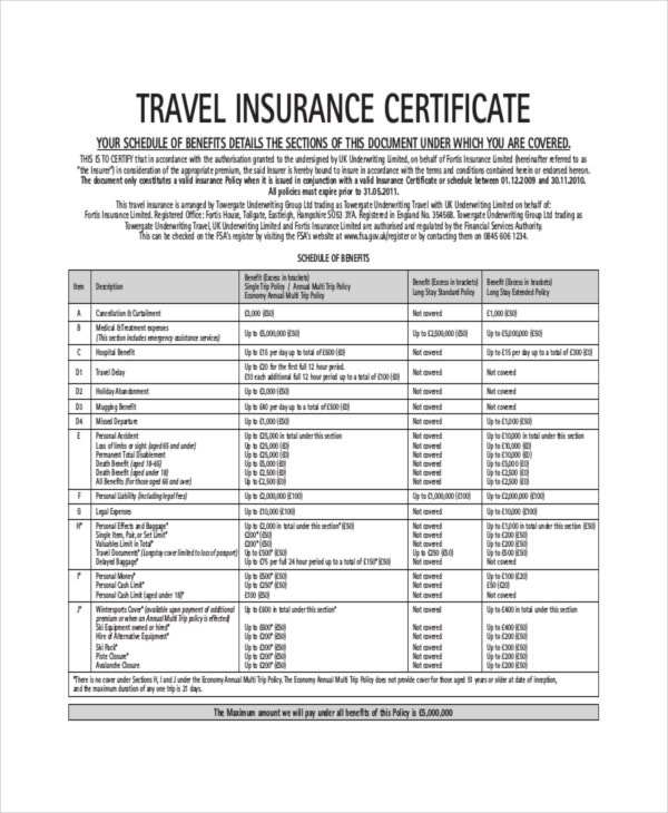 Travel Insurance Certificate Template Download