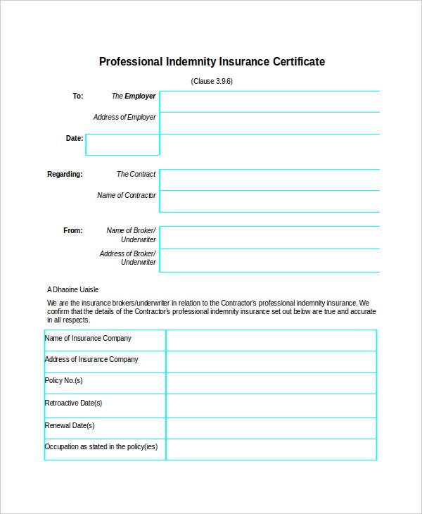 Professional Indemnity Insurance Certificate