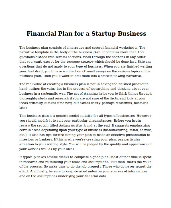 financial projections for startup business template