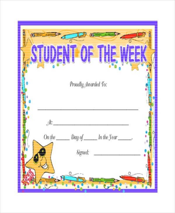 24 sample printable certificate templates free sample example printable student of the week certificate yadclub Image collections