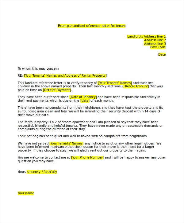 Landlord Reference Letter Template  Free Sample Example
