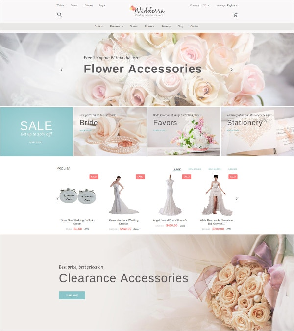 Wedding Flower Accessories Store Blog PrestaShop Theme $139