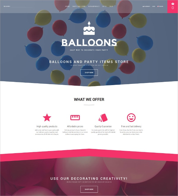 Event Planner & Party Item Store Blog OpenCart Template $89
