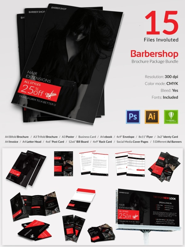16 well designed barber shop templates bundle