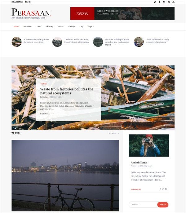 Simple Magazine Blog WordPress Theme $49