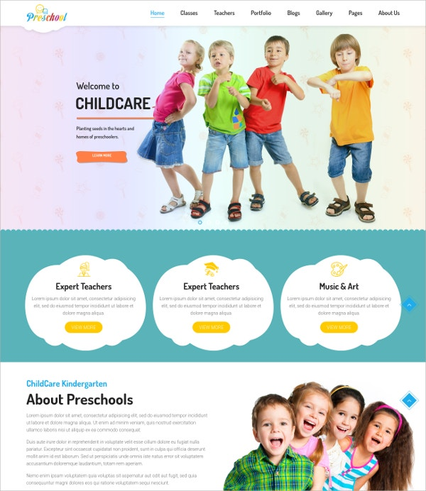 Multipurpose Business WordPress Blog Theme for Play School $49