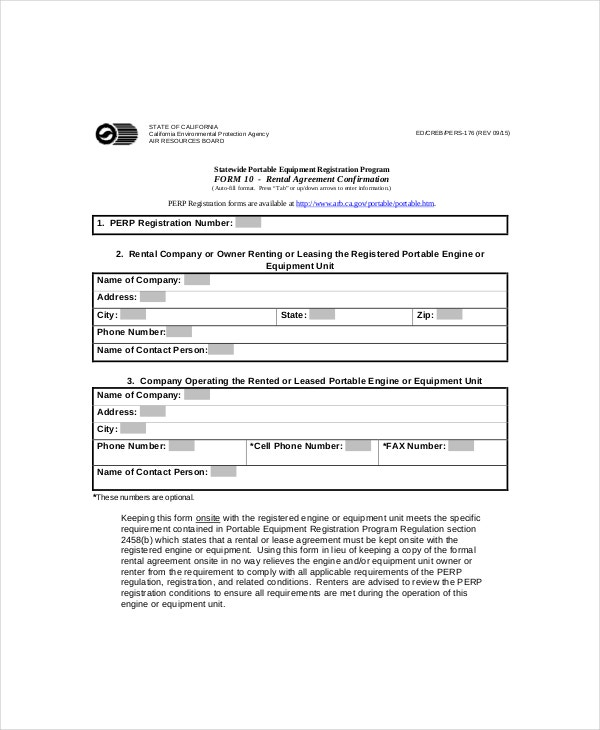 registered rental agreement form template