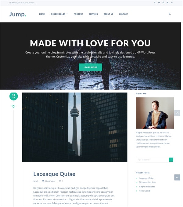 Modern Responsive Blog WordPress Theme $15
