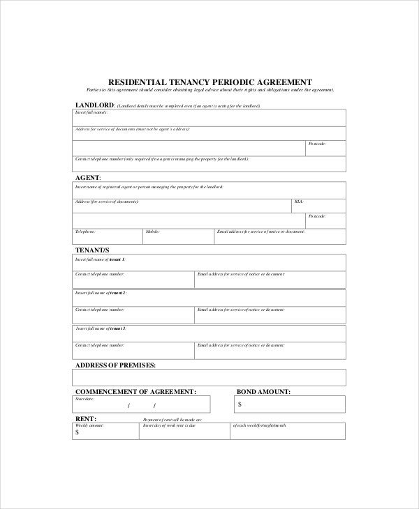 periodic rental agreement template