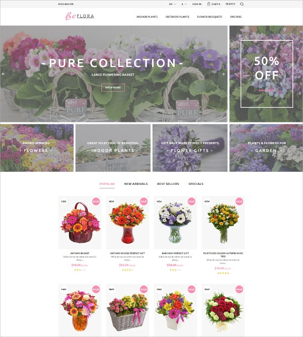 Flower Collection Store PrestaShop Theme $139