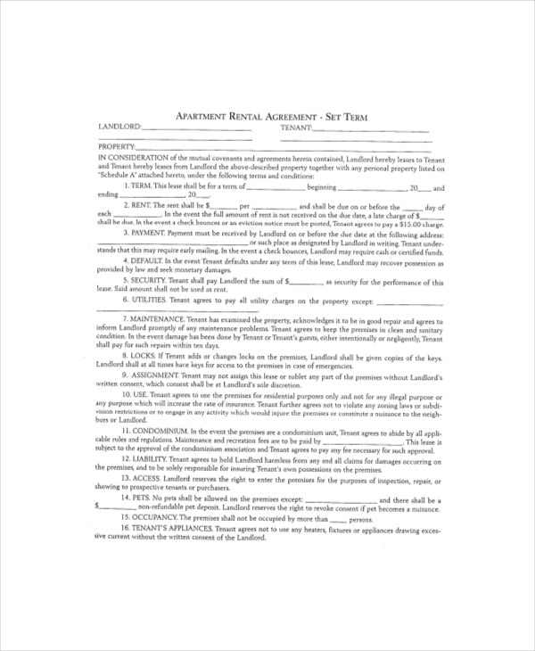 apartment rental agreement template1