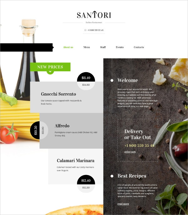 Tasty Food Restaurant HTML5 Website Template $75