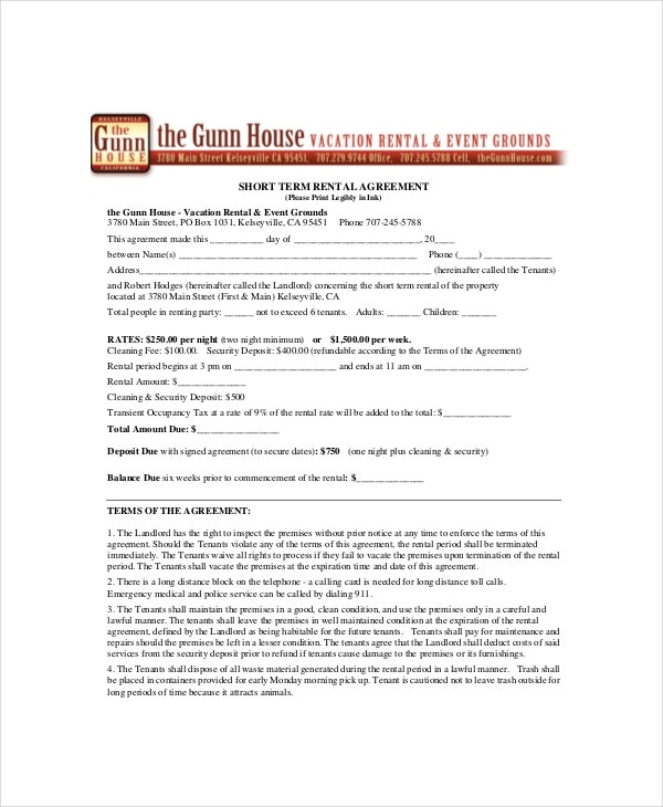 short term rental agreement template