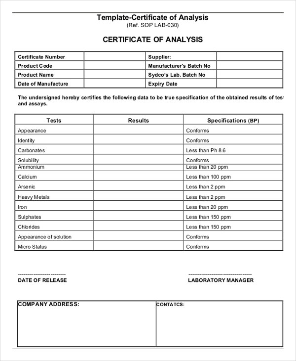 Certificate of Analysis Template 6 Free Word PDF Documents – Certificate of Analysis Template