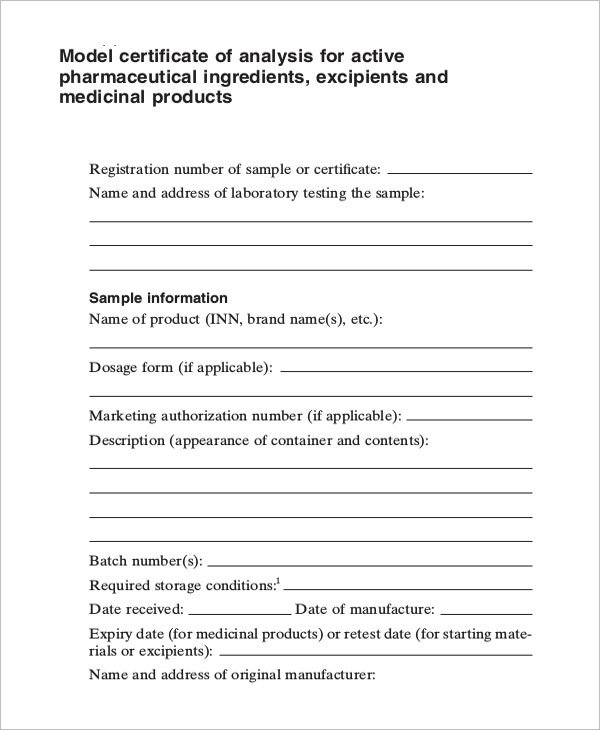 Certificate Of Analysis Template   Free Word Pdf Documents
