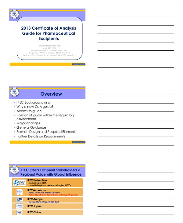 Certificate of Analysis Guide for Pharmaceutical Excipients