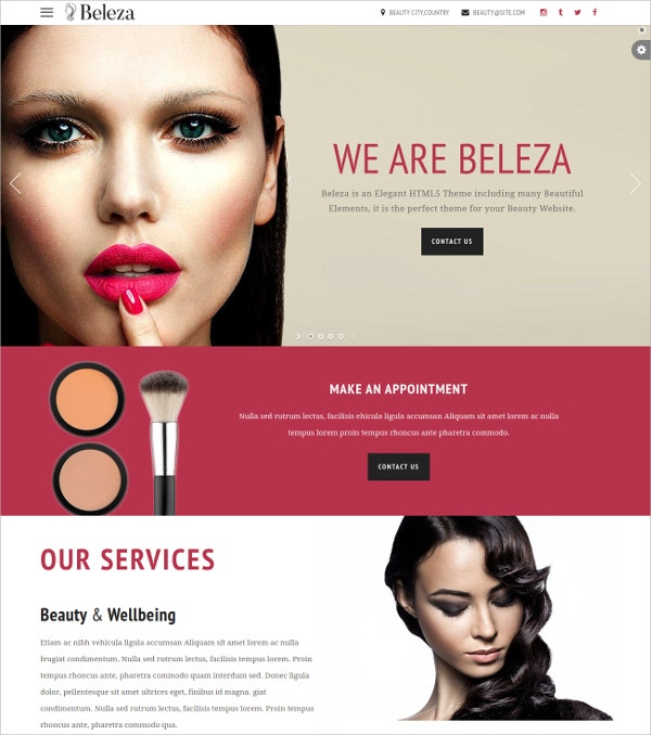 beauty salon one page html5 theme fo women 17