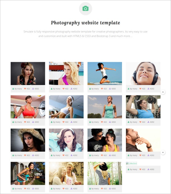 Creative Photography HTML5 Website Theme $6