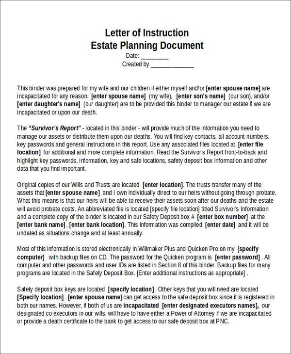 Letter of Instruction on Estate Planning