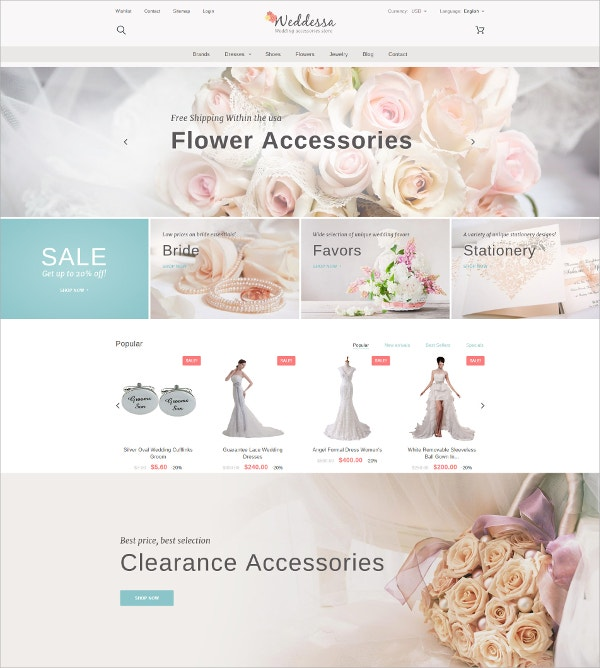 Wedding Flower Accessories eCommerce Prestashop Theme $139