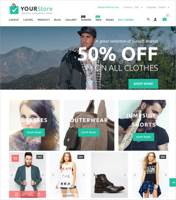 Modern Wear eCommerce OpenCart Theme $48