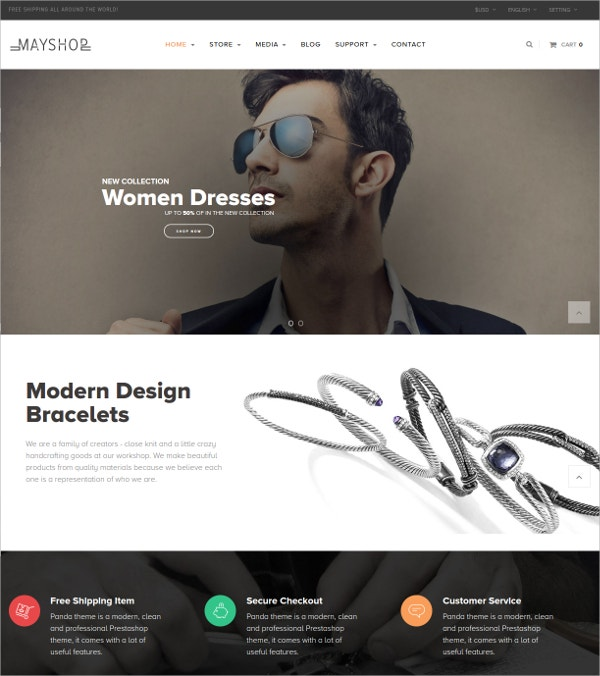 Accessories Store eCommerce Prestashop Theme $70