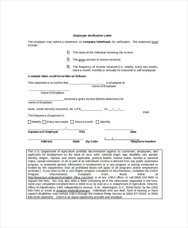 9 Employment Verification Letter Templates Free Sample Example – Sample Income Verification Letter
