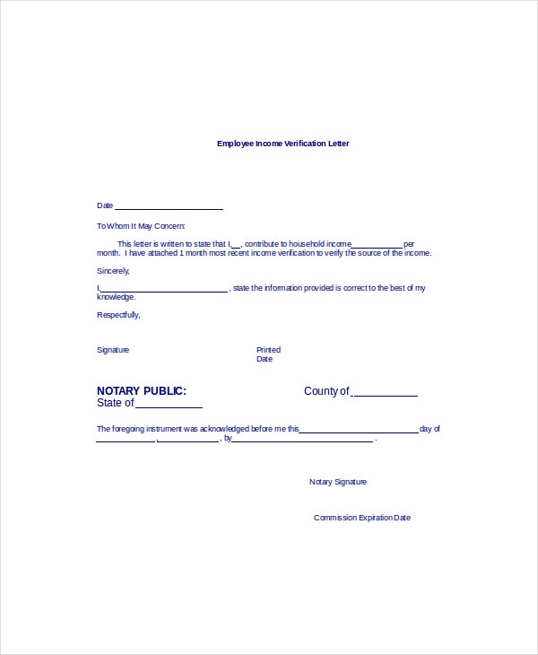 employee income verification letter template