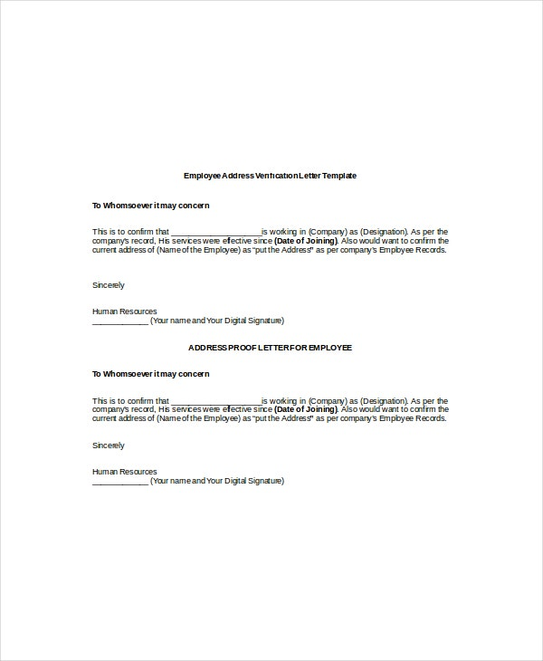 Employment Verification Letter Templates - Free Sample, Example ...