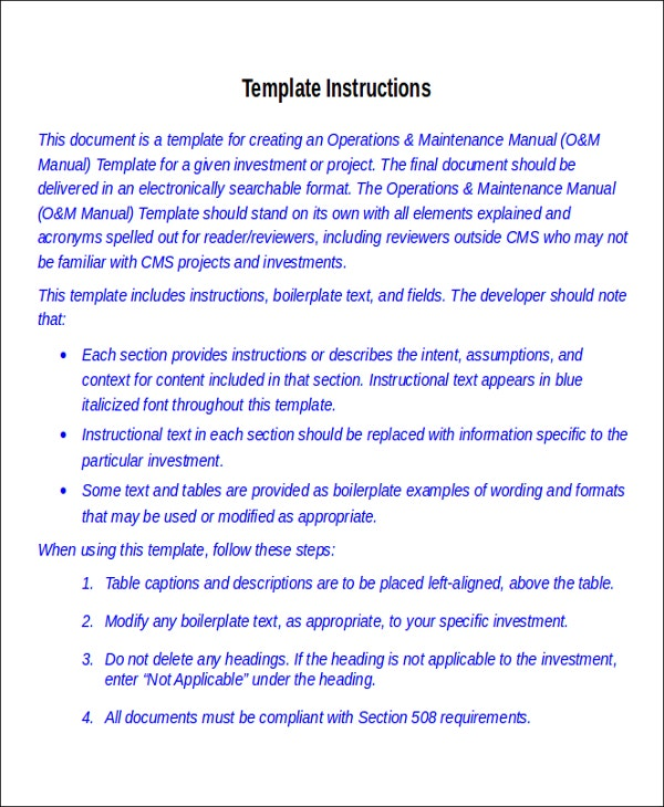 8Instruction Manual Templates Free Sample Example Format – Sample Safety Manual Template