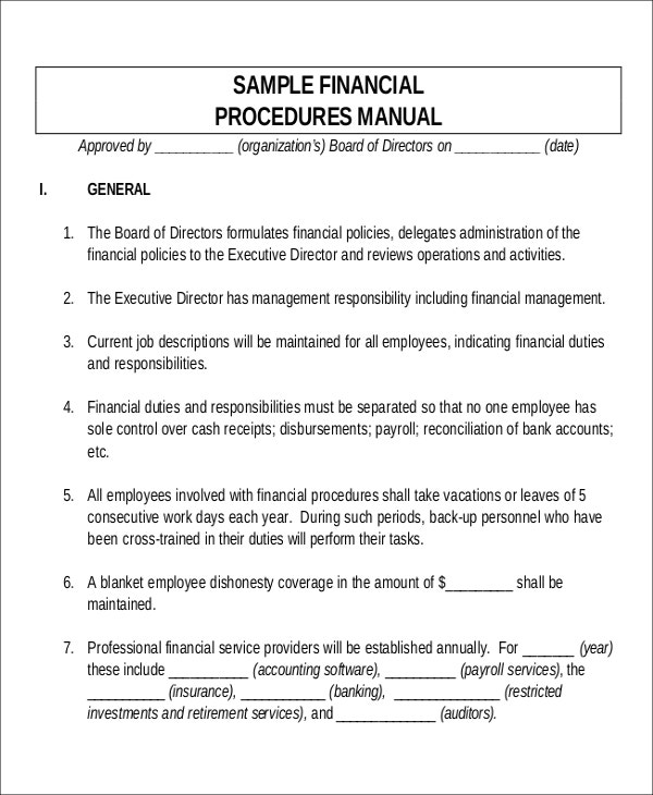 Superbe Sample Financial Procedures Manual Template